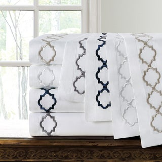 Echelon Home Hotel Collection Quatrefoil Embroidery Euro Shams (Set of Two) in Navy(As Is Item)