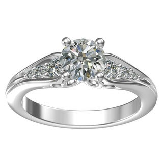 Sterling Silver 1-carat Center and 6, 0.31-carat Side Cubic Zirconia Engagement Ring
