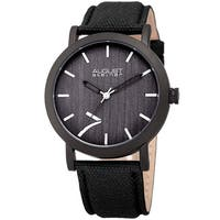 August Steiner Men's Classic Easy-to-Read Wood Dial Leather Black Strap Watch