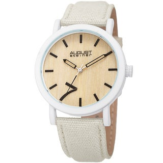 August Steiner Men's Classic Easy-to-Read Wood Dial White Leather Strap Watch