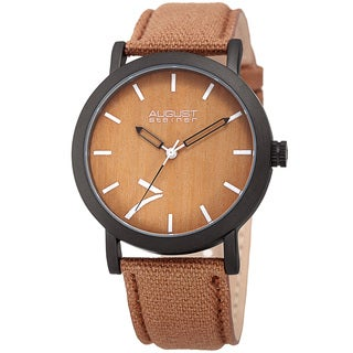 August Steiner Men's Classic Easy-to-Read Wood Dial Brown Leather Strap Watch