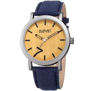 August Steiner Men's Classic Easy-to-Read Wood Dial Blue Leather Strap Watch