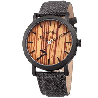August Steiner Men's Classic Easy-to-Read Wood Dial Leather Strap Watch