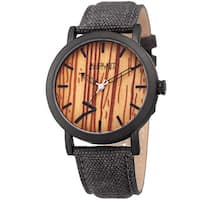 August Steiner Men's Classic Easy-to-Read Wood Dial Grey Leather Strap Watch