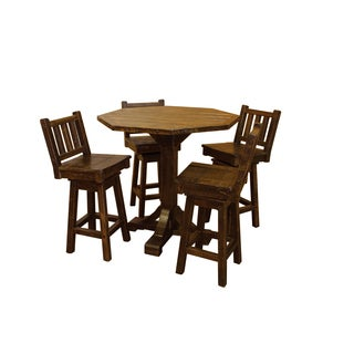 Barn Wood Style Timber Peg Bistro Table with 4 Swivel Stools - Multiple Sizes