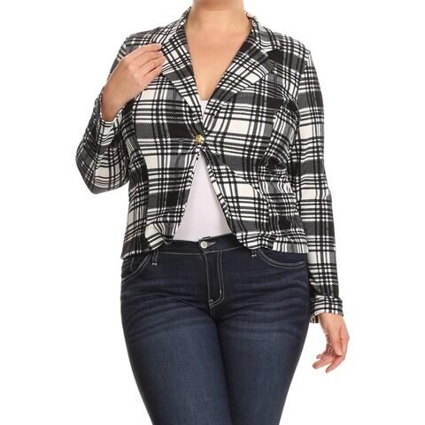 Women's Rayon/Spandex Plus Size Plaid Blazer-style Jacket