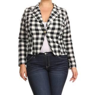 Women's Rayon and Spandex Plaid Blazer Jacket https://ak1.ostkcdn.com/images/products/14269306/P20855952.jpg?impolicy=medium