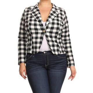 Women's Rayon and Spandex Plaid Blazer Jacket