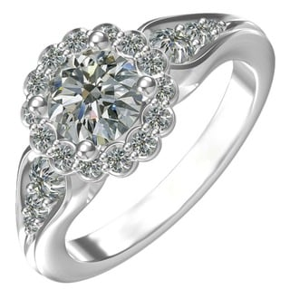 Sterling Silver Cubic Zirconia Floral Engagement Ring (Size 6.25) (Option: 6.25)