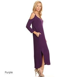Women's Solid Shoulder Cutout Maxi Dress