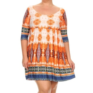 Women's Multicolored Plus Size Abstract Short Dress