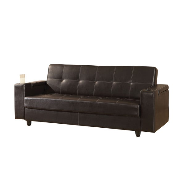 Acme Furniture Sanya Brown Faux Leather Adjule Futon Sofa With Storage