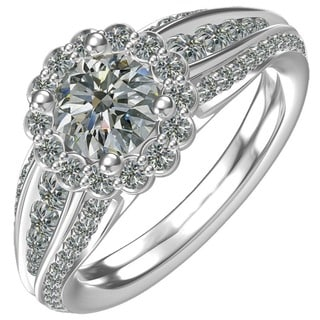 Sterling-silver 1ct Cubic Zirconia Classic Flower Engagement Ring (Option: 6.25)