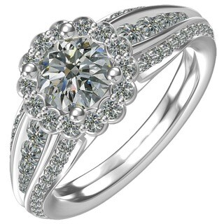 Sterling-silver 1ct Cubic Zirconia Classic Flower Engagement Ring