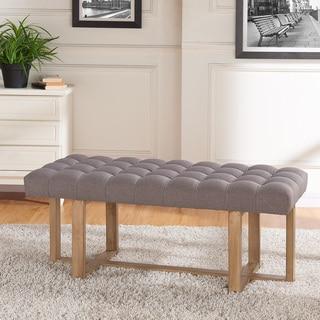 Tavis Wooden Base Tufted Fabric Bench