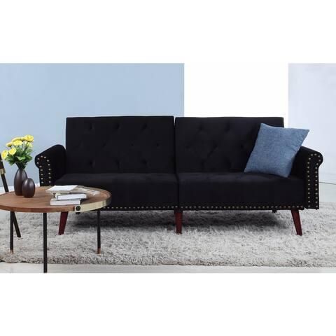 Modern Tufted Velvet Splitback Sleeper Futon Sofa w/ Nailhead Trim