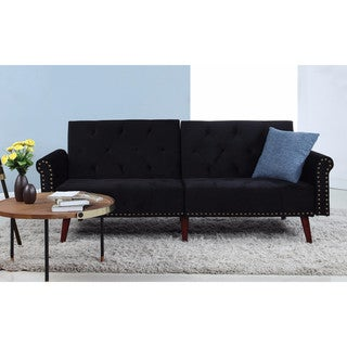 Modern Tufted Velvet Splitback Sleeper Futon Sofa w/ Nailhead Trim