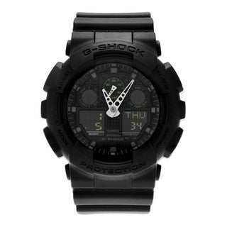 Casio Men's GA100MB-1A 'G-Shock' Round Black Analog Digital Dial Resin Strap Watch