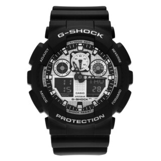 Casio Men's GA100BW-1A 'G-Shock' Black White Analog Digital Dial Resin Strap Watch