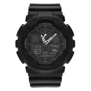 Casio Men's GA100-1A1 'G-Shock' Round Black Analog Digital Dial Resin Strap Watch