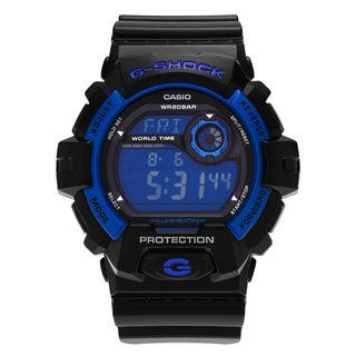 Casio Men's G8900A-1 'G-Shock' Black Blue Digital Dial Resin Strap Watch