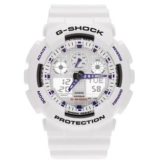 Casio Men's 'G-Shock' GA100A-7A White Analog Digital Dial Strap Watch