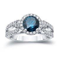 Auriya 14k Gold 1ct TDW Round Blue Diamond Halo Engagement Ring