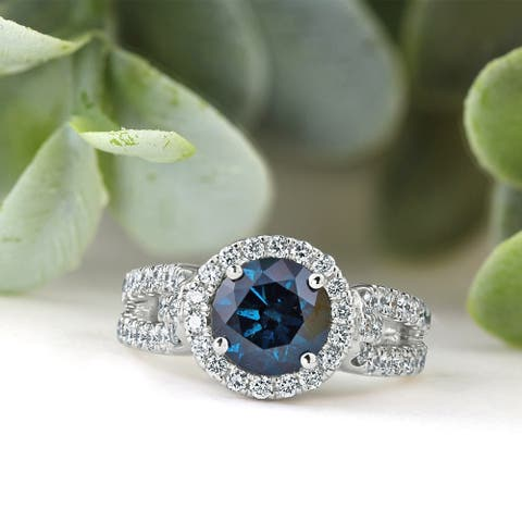 Auriya 14k Gold Round 2 1/3ctw Halo Blue Diamond Engagement Ring