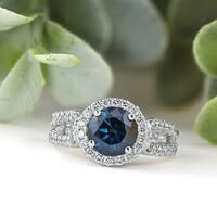 14k Gold Round 2 1/3ct TDW Blue Diamond Halo Engagement Ring by Auriya