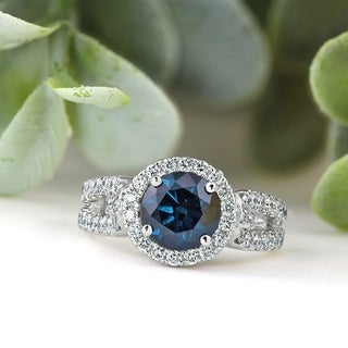 14k Gold 2 1/3ct TDW Round Blue Diamond Halo Engagement Ring by Auriya