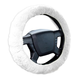 Zone Tech White Authentic Sheepskin Luxurious Non-slip Car Decoration Plush Thermal Steering Wheel Cover