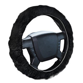 Zone Tech Black Sheepskin Non-slip Plush Steering Wheel Cover