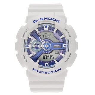 Casio Men's GA110WB-7A 'G-Shock' White Analog Digital Dial Resin Strap Watch