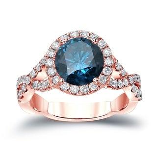 Auriya 14k Gold 2 3/4ctw Infinity Halo Round Blue Diamond Engagement Ring