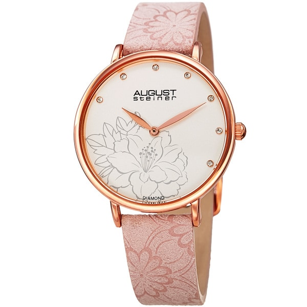 August Steiner Women's Diamond Hibiscus Rose-Tone/Pink Leather Strap Watch with FREE Bangle