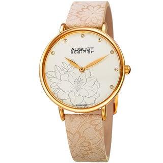 August Steiner Women's Diamond Hibiscus Gold-Tone/Cream Leather Strap Watch