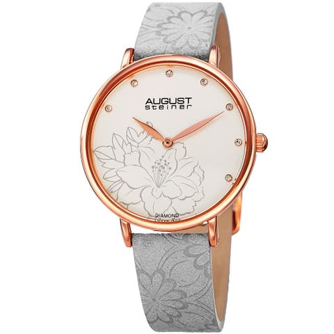 August Steiner Women's Diamond Hibiscus Rose-Tone/Grey Leather Strap Watch