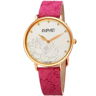 August Steiner Women's Diamond Hibiscus Gold-Tone/Hot Pink Leather Strap Watch