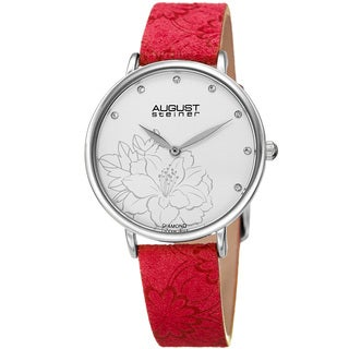 August Steiner Women's Diamond Hibiscus Silver-Tone/Red Leather Strap Watch