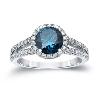 Auriya 14k Gold 1 1/3ct TDW Round Cut Blue Diamond Halo Engagement Ring (Blue, SI2-SI3)