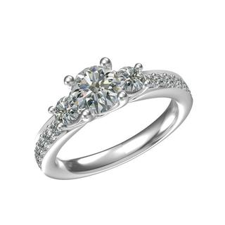 Sterling Silver 1 1/2ct TGW Cubic Zirconia 3-stone Ring (Size 6.25)