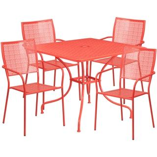 Karako 5-Piece Artistic Designed Red Large Bistro Set