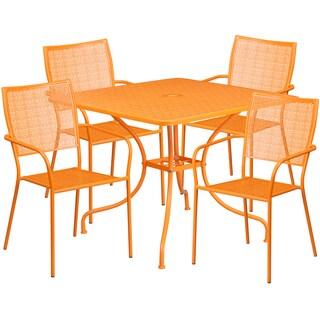 Karako 5-Piece Artistic Designed Orange Large Bistro Set