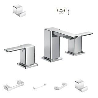 Moen Bath Hardware - TS6720 Faucet, 9000 Valve, YB8808CH TP Holder, YB8824CH Towel Bar, YB8886CH Towel Ring, YB8803CH Robe Hooks