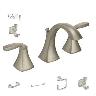 Moen Bath Hardware - T6905BN Faucet, 9000 Valve, YB5108BN TP Holder, YB5124BN Towel Bar, YB5186BN Towel Ring, YB5103BN Robe Hook