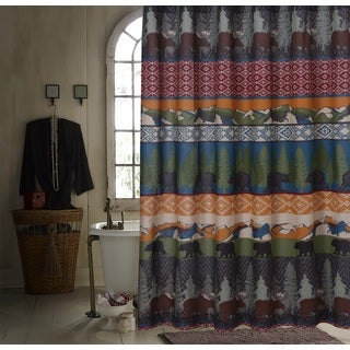Greenland Home Fashions Black Bear Lodge Shower Curtain