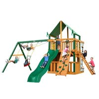 Gorilla Playsets Chateau Clubhouse Cedar Swing Set with Green Vinyl Canopy and Timber Shield Posts