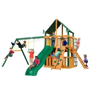 Gorilla Playsets Chateau Clubhouse Cedar Swing Set with Sunbrella Canvas Canopy and Timber Shield Posts