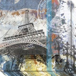 Canvas Art Gallery Wrap 'Paris Eiffel' by Andrew Mellen 20 x 20-inch - Blue