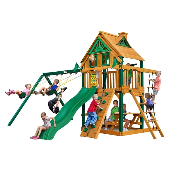 Gorilla Playsets Chateau Treehouse Cedar Swing Set with Timber Shield Posts